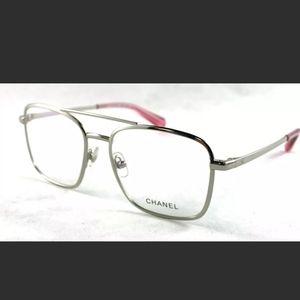 CHANEL aviator eyeglasses / frames - pink, silver
